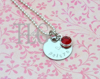 Personalized Hand Stamped Silver Necklace with Birthstone