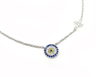 Round Evil Eye Necklace with Tiny CZ Cross-- Sterling Silver