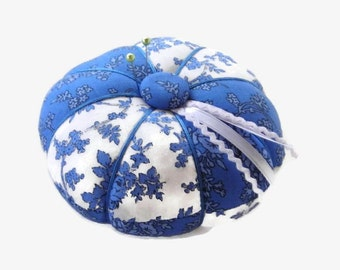 Blue and White Pin Cushion - Blue Pincushion - Sewing Accessory - Needle Cushion