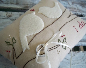 Two Nuzzling Love Birds. Custom Wedding Ring Bearer Pillow in YOUR wedding colors