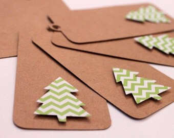 5  - Green Chevron Christmas Tree Kraft Gift Tags READY TO SHIP Holiday Gift Wrap Paper Goods Price Hang Craft Wrapping Paper Tags