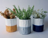 Trio of Vases / modern home / color block Home Decor /  silver and white / gold and white / navy blue / set of 3 /  mini vases