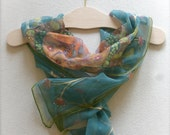 Blue silk scarf, hand painted silk scarf (OOAK blue orange yellow colors), chiffon scarf, light scarves, for women, blue scarf, floral scarf