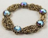 Vintage Multi Strand Golden Chain Rhinestone Bracelet