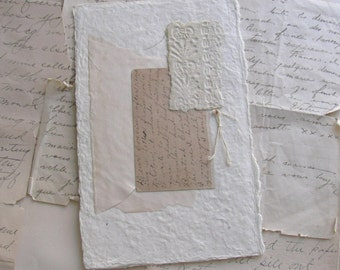 Original Collage with Antique Postcard/Handwriting/Envelope - Old Ink Series .08
