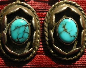 Southwest Sterling Silver Turquoise Shadowbox Dangle Earrings