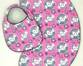 Baby Girl Skull and Crossbone with Black Lace Baby Bib and Burp Cloth Set