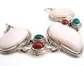Pink Opal Bracelet, Pink Statement Bracelet, Gemstone Bracelet, Silver Bracelet, SKU 2922