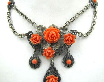 Beautiful Victorian Art Deco Floral Carved Coral Celluloid Festoon Vintage Swag Necklace