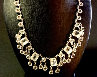 Beautiful Art Deco Open Back Crystal Sterling Silver Necklace