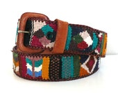 Vintage Guatemala Woven and Leather Belt // Size 30