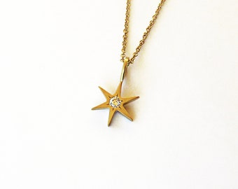 Gold Star Pendant, Diamond Pendant, Diamond Star Pendant, 18K Pendant, Star of David pendant