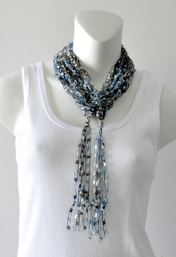 Knitting Pattern For Ladder Yarn Scarf : Crochet Ladder Yarn Scarf Necklace Blues and Browns