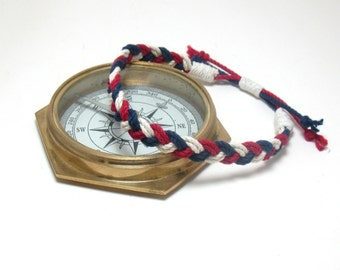 Cotton Anklet Red, White and Blue Sailor Braid Patriotic Colors
