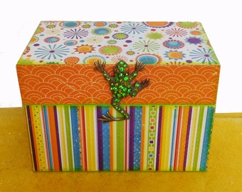 Personalized Wooden Recipe Organizer Box Sun Kissed Frog