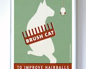 Brush Cat Original Illustration - PSA series - Typography Poster Print
