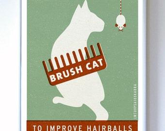 Brush Cat Original Illustration - PSA series - Typography Poster Print