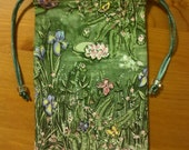 Lined Lily Pond Tarot Card Bag  4 in x 6 in