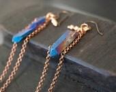 Peacock Quartz Point Copper Chain Long Earrings