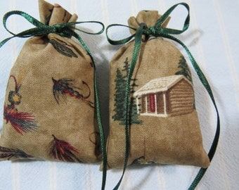 "Brown  3""X2""Sachet-'My Dear Watson'(type) Fragrance-Father's Day Masculine Sachet-Cotton Fabric Sachet Sachet-Green Ribbon-Cindy's Loft-365"