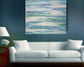 Large Original Abstract Painting, Ocean, Beach, Beach Cabin, Seaside, Surfing, Windsurfing, Contemporary, 24 x 30, Ready to Hang