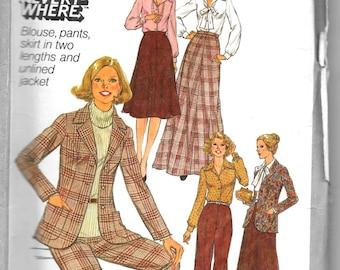 SIMPLICITY 8245 UNCUT Size 14, Blouse, Pants,Skirt, Jacket Blazer Pattern 1970's Retro
