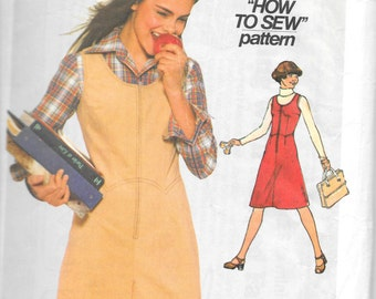 "SIMPLICITY 8132 Size 9-10, Junior / Teen ""How to Sew"" Jumper and Split Skirt Jumper Zip Front Sundress Pattern 1970's Retro"