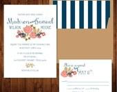 Rustic Wedding Invitation, Floral Wedding Invitation, Script Wedding Invitation, Classic Wedding Invitation,
