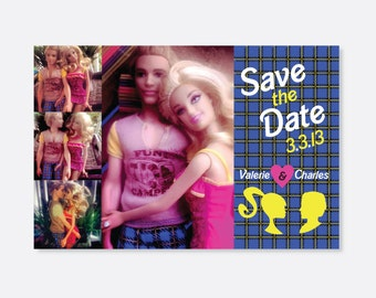 Barbie and Ken Save the Date, Barbie and Ken wedding invites, Action figures, Unique Save the Dates