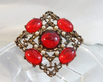 Vintage Red Rhinestone Cabochon Brooch. Victorian Revival. Faux Pearls.