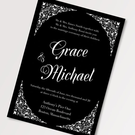 black and white wedding invitations black and white wedding invitation templates diy printable 1826
