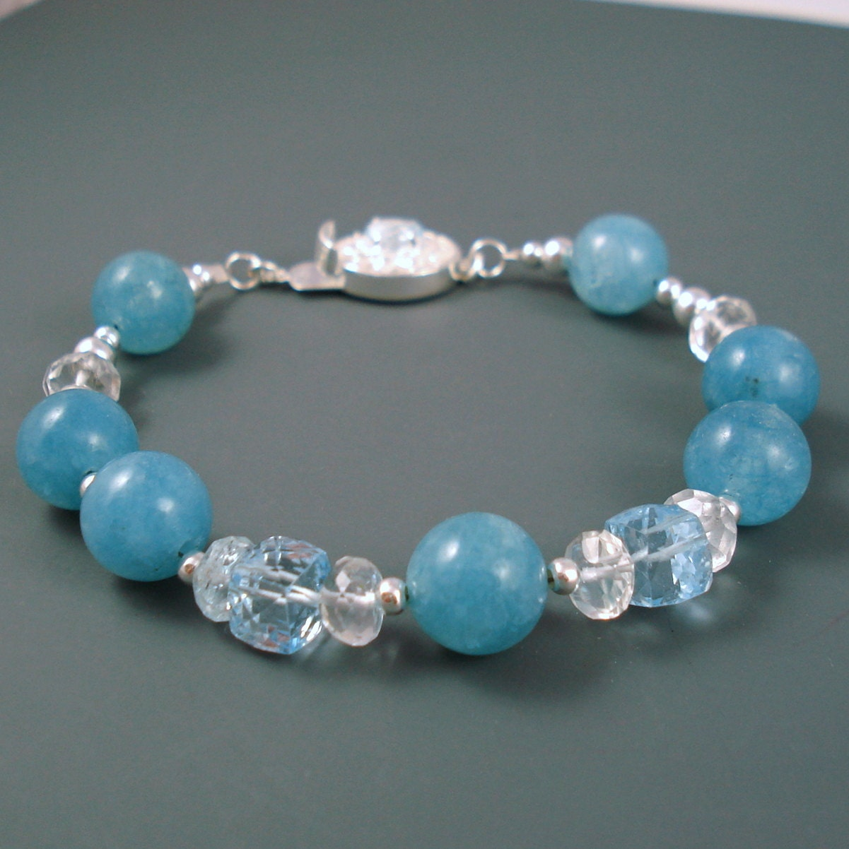 Aquamarine Bracelet Blue Topaz And Aquamarine Gemstone