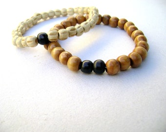 Unisex - boho bracelet Natural wood coconut black and brown  Two stacking bracelets wood mens bracelets - beaded bracelets