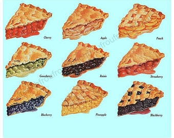vintage mid century food poster pies illustration digital download