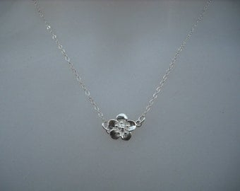 cherry blossom necklace - sterling silver chian