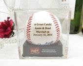 Engraved Wedding MLB Baseball Personalized Bride Groom Shower Unique Gift Keepsake Anniversary Acrylic Cube