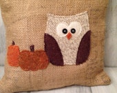 Owl and pumpkin pillow, burlap, fall, halloween, owl