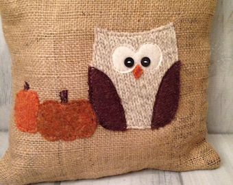 throw pillow, decorative pillows, pumpkin pillow, burlap pillow, pumpkin decor, fall decor, fall pillow, home decor, fabric pumpkin, owls
