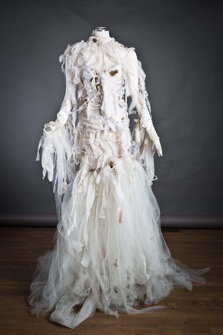 Custom Size Ivory Burlesque Mummy Corset With Moss Mermaid