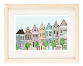 SAN FRANCISCO, CALIFORNIA - Victorian Colorful Houses 8 x 10, 11 x 17 Painted Ladies Illustration Art Print, Wall Decor, Blue, Pink