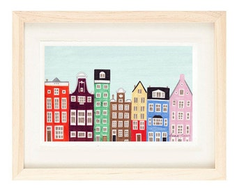 AMSTERDAM, NETHERLANDS -  11 x 17 Dutch Buildings and Houses Scandinavian Design Colorful Nursery Illustration Art Print
