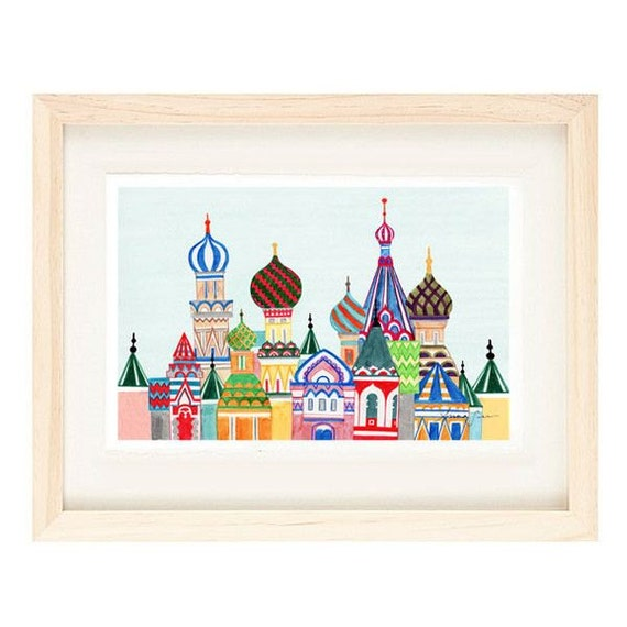 MOSCOW, RUSSIA - Russian Architecture 12 x 18 Colorful Illustration Art Print For Home, Cathedral, Red Square Buildings