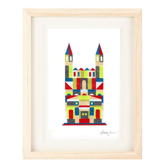 MEDIEVAL CASTLE - Colorful Oversized Illustration Print : 12 x 16