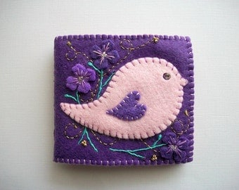 Needle Book Purple Felt Needle Keeper with Pink Folk Art Bird Hand Embroidered Handsewn
