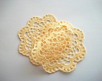 Yellow Crochet Doily Set Cotton Lace Heirloom Quality 2 Pcs
