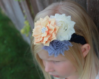 navy elastic headband, ivory flower headband, grey headband, yellow headband, baby headband, stretchy headband, girl headband wedding