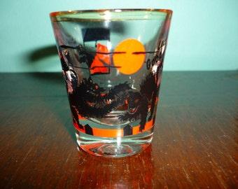 Vintage Fighting Black Cats Shot Glass