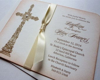 Baby Christening Invitation, Vintage Baptism Invitation - Set of 10