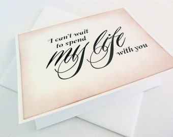 Bride Groom Wedding Card, Vintage Life Card, I Love You Card