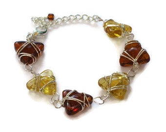 Amber Wire Wrapped Bracelet, Gifts for Women Mom Sister Daughter Teacher Under 50, Christmas Birthday Gifts, Stocking Stuffers